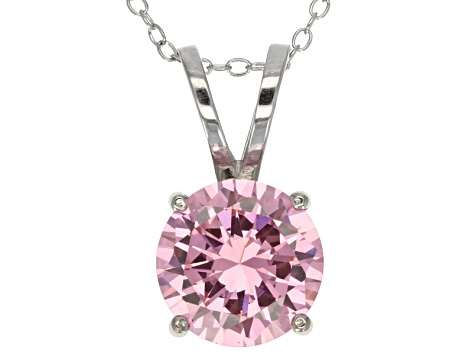 6.58ct Pink Cubic Zirconia Sterling Silver Solitaire Pendant With 18