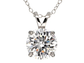 4.68ct Cubic Zirconia Sterling Silver Solitaire Pendant With 18