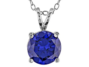 3.46ct Blue Cubic Zirconia Sterling Silver Solitaire Pendant With 18