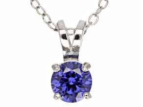 .79ct Blue Cubic Zirconia Sterling Silver Solitaire Pendant With 18
