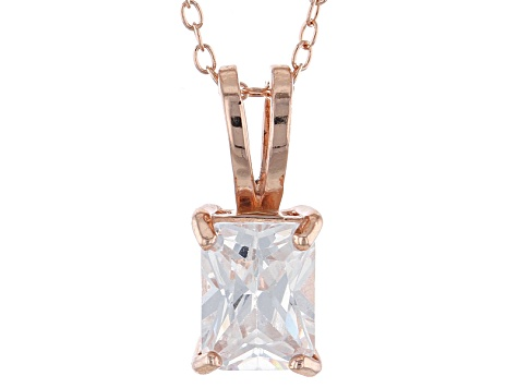"2.95ct Cubic Zirconia 18k Rose Gold Over Sterling Silver Pendant With 18"" Chain"