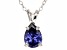 """1.85ct Blue Cubic Zirconia Sterling Silver Solitaire Pendant With 18"""" Chain"""