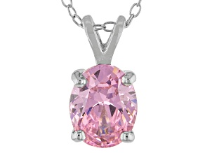 3.16ct Pink Cubic Zirconia Sterling Silver Solitaire Pendant With 18