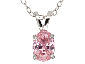 "1.30ct Pink Cubic Zirconia Sterling Silver Solitaire Pendant With 18"" Chain"