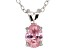 "Pink Cubic Zirconia Rhodium Over Sterling Silver Solitaire Pendant With 18"" Chain 1.30ct"