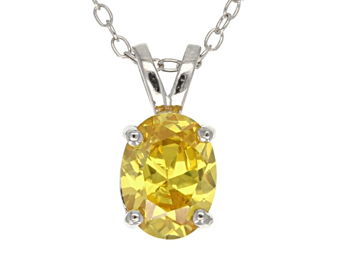2.06ct Yellow Cubic Zirconia Sterling Silver Solitaire Pendant With 18