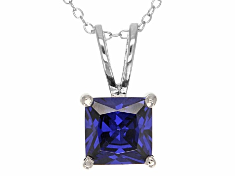 "5.12ct Blue Cubic Zirconia Sterling Silver Solitaire Pendant With 18"" Chain"