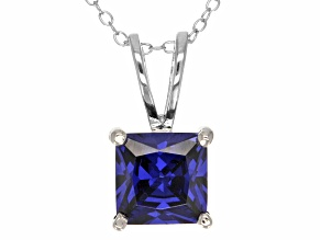 5.12ct Blue Cubic Zirconia Sterling Silver Solitaire Pendant With 18