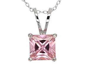 5.12ct Pink Cubic Zirconia Sterling Silver Solitaire Pendant With 18