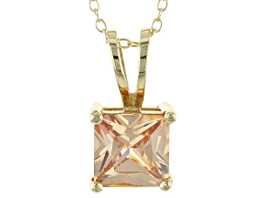 "5.12ct Cubic Zirconia 18k Yellow Gold Over Sterling Silver Pendant With 18"" Chain"