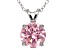 "4.68ct Pink Cubic Zirconia Sterling Silver Solitaire Pendant With 18"" Chain"