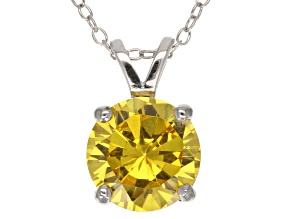 4.68ct Yellow Cubic Zirconia Sterling Silver Solitaire Pendant With 18