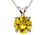 "4.68ct Yellow Cubic Zirconia Sterling Silver Solitaire Pendant With 18"" Chain"