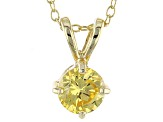 1.43ct Cubic Zirconia 18k Yellow Gold Over Sterling Silver Pendant With 18