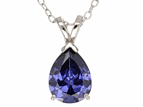 2.98ct Blue Cubic Zirconia Sterling Silver Solitaire Pendant With 18