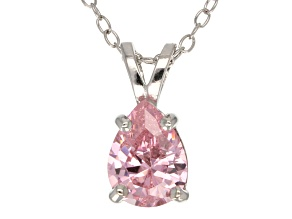 "1.85ct Pink Cubic Zirconia Sterling Silver Solitaire Pendant With 18"" Chain"