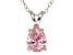 """1.85ct Pink Cubic Zirconia Sterling Silver Solitaire Pendant With 18"""" Chain"""