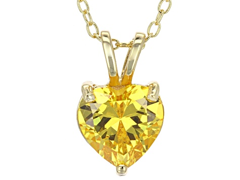 2.90ct Cubic Zirconia 18k Yellow Gold Over Sterling Silver Pendant With 18