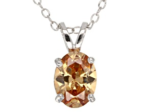 2.06ct Cubic Zirconia Sterling Silver Solitaire Pendant With 18