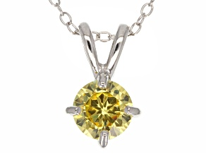 1.43ct Yellow Cubic Zirconia Sterling Silver Solitaire Pendant With 18