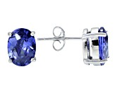 1.28ctw Blue Cubic Zirconia Rhodium Over Sterling Silver Oval Stud Earrings