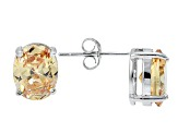 1.22ctw Champagne Cubic Zirconia Sterling Silver Oval Stud Earrings