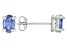 .79ctw Blue Cubic Zirconia Rhodium Over Sterling Silver Oval Stud Earrings