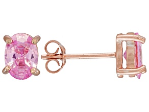 1.08ctw Pink Cubic Zirconia 18k Rose Gold Over Sterling Silver Stud Earrings