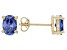 1.08ctw Blue Cubic Zirconia 18k Yellow Gold Over Sterling Silver Stud Earrings