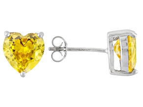 .90ctw Yellow Cubic Zirconia Rhodium Over Sterling Silver Heart Stud Earrings