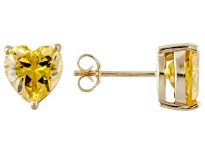 .90ctw Yellow Cubic Zirconia 18k Yellow Gold Over Sterling Silver Stud Earrings