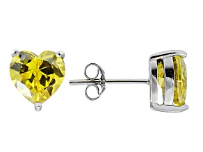 1.22ctw Yellow Cubic Zirconia Rhodium Over Sterling Silver Heart Stud Earrings