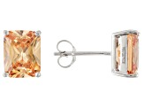 1.46ctw Champagne Cubic Zirconia Rhodium Over Sterling Silver Stud Earrings