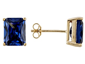 1.46ctw Blue Cubic Zirconia 18k Yellow Gold Over Sterling Silver Stud Earrings
