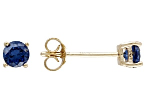 .52ctw Blue Cubic Zirconia 18k Yellow Gold Over Sterling Silver Stud Earrings