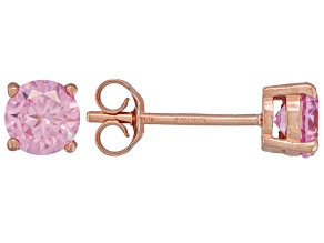 .56ctw Pink Cubic Zirconia 18k Rose Gold Over Sterling Silver Stud Earrings