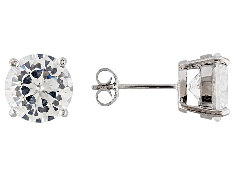 1.74ctw Cubic Zirconia Rhodium Over Sterling Silver Round Stud Earrings