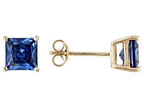 1.02ctw Blue Cubic Zirconia 18k Yellow Gold Over Sterling Silver Stud Earrings