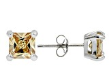 .84ctw Champagne Cubic Zirconia Sterling Silver Princess Stud Earrings