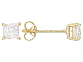 .73ctw Cubic Zirconia 18k Yellow Gold Over Sterling Silver Stud Earrings