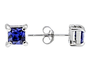 .73ctw Blue Cubic Zirconia Rhodium Over Sterling Silver Princess Stud Earrings
