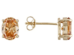 1.28ctw Champagne Cubic Zirconia 18k Yellow Gold Over Sterling Silver Earrings