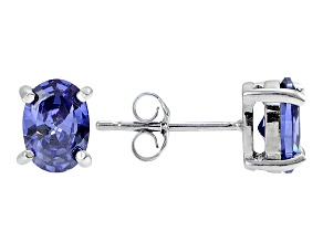 1.08ctw Blue Cubic Zirconia Rhodium Over Sterling Silver Oval Stud Earrings