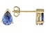 .93ctw Blue Cubic Zirconia 18k Yellow Gold Over Sterling Silver Stud Earrings