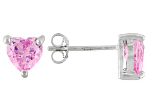 .92ctw Pink Cubic Zirconia Rhodium Over Sterling Silver Heart Stud Earrings