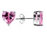 1.22ctw Pink Cubic Zirconia Rhodium Over Sterling Silver Heart Stud Earrings