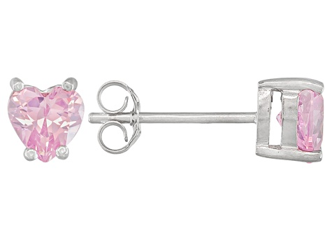 .81ctw Pink Cubic Zirconia Rhodium Over Sterling Silver Heart Stud Earrings
