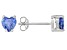 .81ctw Blue Cubic Zirconia Rhodium Over Sterling Silver Heart Stud Earrings