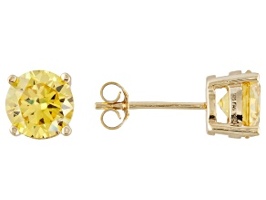 1.27ctw Yellow Cubic Zirconia 18k Yellow Gold Over Sterling Silver Stud Earrings