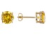 1.26ctw Yellow Cubic Zirconia 18k Yellow Gold Over Sterling Silver Stud Earrings